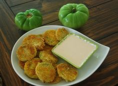 Fried Green Tomatoes with a Buttermilk Dipping Sauce