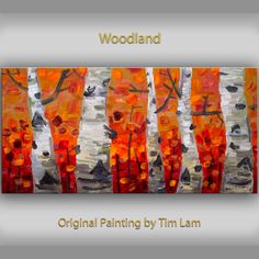 "Modern Art Tree Painting Original impasto 48"" Red Gray landscape painting acrylic painting on gallery canvas by tim lam"