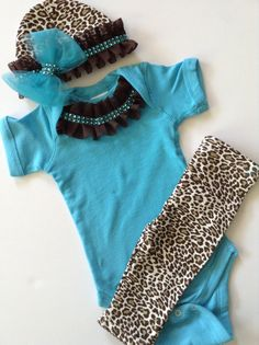 Newborn baby girl turquoise leopard print