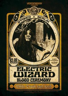 Poster for Electric Wizard & Blood Ceremony in Berlin, Germany.