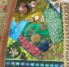 CQ inspiration: Shirley S-B of Missouri uses silk-ribbon embroidery within the patches, not just in seam treatments