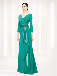Con Elegante Y vestido raso Cruzado De Largo manga Cuerpo Larga xxqZSI