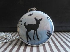 Baby Deer Fawn Silhouette Spring Blue Art Locket Silver Pendant Necklace Jewelry | eBay