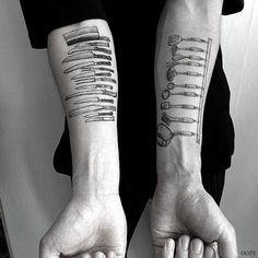 Oozy, a tattoo artist in South Korea, creates beautiful, detailed tattoos depicting the tools that some of his clients use to make a living. Whether they're chefs or craftspeople, the tools are a simple, elegant and beautiful testament to their work and (presumably) their passion.