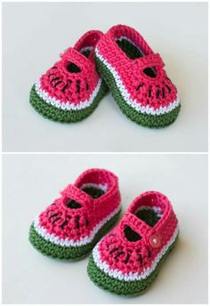 42376622f59 Make your own adorable watermelon crochet shoes. Lovely gift for a baby girl
