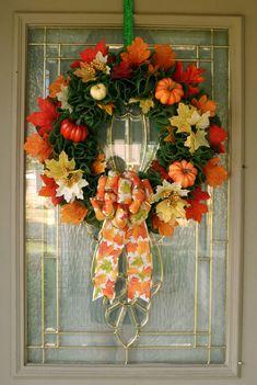 Fall Foliage Wreath for Front Door, Green Fall Wreath, Autumn Wreath, Burlap Wreath, Fall Farmhouse Wreath, Housewarming Gift, Pumpkins