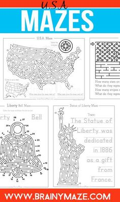 Free USA Mazes and Activity Pages for Kids.  Perfect for your USA Unit Study or Notebooking Project