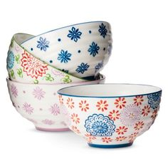 Boho Boutique™ Floral Ceramic Cereal Bowl Set of 4 - like the blue bowl, would love a set of just that! Boho Boutique, Blue Bowl, White Bowl, White Plates, Dinnerware Sets, White Dinnerware, Pottery Painting, Painted Pottery, Cereal Bowls