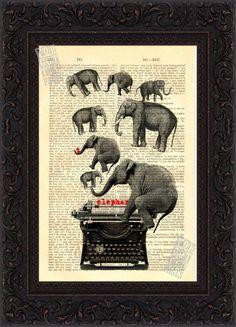 Elephant on Typewriter Print on vintage Upcycled French