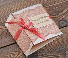 WEDDING INVITATIONS   #4lovepolkadots#coralwedding#lace