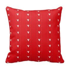 Red Decorative Throw Pillows | Pretty Throw Pillows | Love inspired red and white heart pattern throw pillow Red Throw Pillows, Decorative Throw Pillows, Heart Patterns, Red And White, Inspired, Pretty, Color, Inspiration, Red Pillows