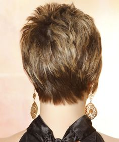 Casual Short Straight Hairstyle (back.) This short funky 'do is cut short and close to the head around the sides and back blending into the top which is jagged cut to achieve texture and height. This highlighted hairstyle is great to balance out a round face and will need product for hold and shine. Face Shape: Round, Oval, Heart, and Triangular.