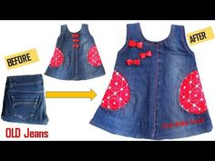 Quick Transformation Old Jeans Into Cute Baby Frock-Quick Transformation Old Jeans Into Cute Baby Frock - Toddler Jeans, Toddler Skirt, Toddler Girl Dresses, Toddler Outfits, Diy Old Jeans, Old Jeans Recycle, Denim Crafts, Girl Dress Patterns, Diy Clothes