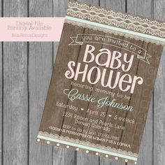 Vintage baby shower invitations, girl shower, shabby chic, fence, lace, pink…