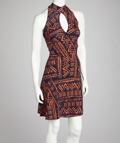 Take a look at this Orange & Navy Tribal Halter Dress by Cherry Mellow on #zulily today!
