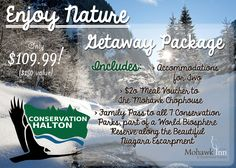 Our Enjoy Nature package is back! Explore any of Conservation Halton's World Biosphere parks, stop by Mohawk Chop House for dinner, and stay cozy at the Inn for the night - a great weekend getaway for nature lovers!  #MiltonON #HaltonON #Christmas #GiftIdeas #Nature #Outdoors #Getaway