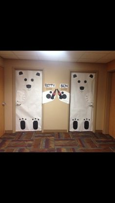 Holiday dorm room door decorations! #polarbears #cocacola