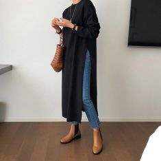 # minimalist Fashion tunic long dress / tunics for women / knit tunics / sweater tunic / sweaters for women / sweater dress / long sweaters / minimalist Mode Outfits, Dress Outfits, Casual Outfits, Fashion Outfits, Womens Fashion, Outfits With Kimonos, Fashion Tips For Women, Dress Clothes, Work Clothes