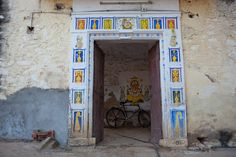 A beautiful hand painted doorway in India.