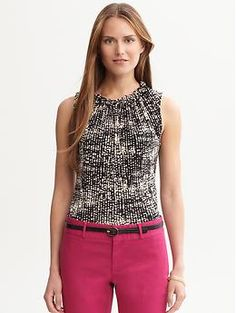 Printed ruffle-neck blouse | Banana Republic $ 39.50