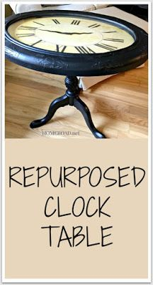 Repurposed Clock Table made from pieces of old furniture. Homeroad.net #repurposed #furniture #clock #table #repurposedfurniture