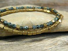 Mens Bracelet  Brass Beads  Mans Jewelry  Guys by StoneWearDesigns.etsy.com