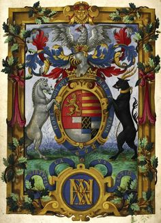 """Arms of Henry Fitzalan, 12th earl of Arundel (1512-1580) (f°1v) with motto """"Virtutis laus actio"""" -- Psalter and Canticles (The Psalter of the Earl of Arundel), by Petruccio Ubaldini, England, S.E. (London) and France, 1565 [BL Royal 2 B IX]"""