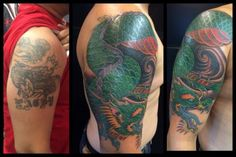 Dragon Cover Up by A.R.T. Trained Tattoo Artist Oksana Weber. Click to learn more about how to become a tattoo artist!