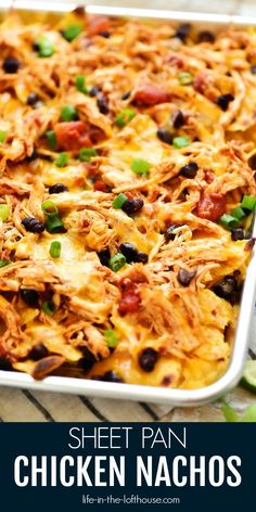 Sheet Pan Chicken NachosSheet Pan Chicken Nachos are a must-make for game day or any party! Seasoned shredded chicken, black beans, cheese and more all loaded on top of tortilla chips!Guys, these Sheet Pan Chicken Nachos are my new food obsession. Shredded Chicken Nachos, Mexican Shredded Chicken, Buffalo Chicken Nachos, Chicken For Nachos, Healthy Shredded Chicken Recipes, Chicken Bar, Ginger Chicken, Cashew Chicken, Homemade Nachos