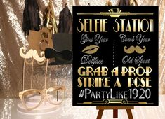 DIGITAL FILE  Selfie Station, Wedding Hashtag Gatsby party decoration*Roaring 20s Art deco*Wedding photobooth sign, Photobooth Prop