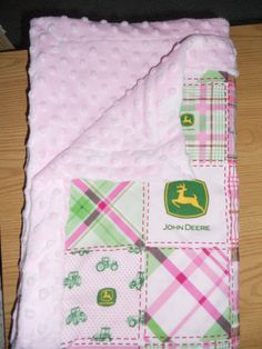 SHIPS FREE--John Deere baby Blanket 3x5-- personalization available