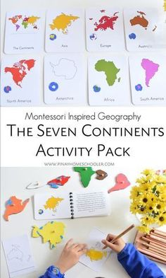 Montessori inspired seven continents in 3 part cards and definition cards which can be assembled into a booklet. Includes coloring and activity sheets for work extensions.