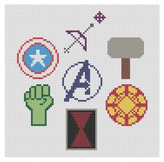 Avengers Assemble Symbols Marvel Cross Stitch by XStitchMyHeart