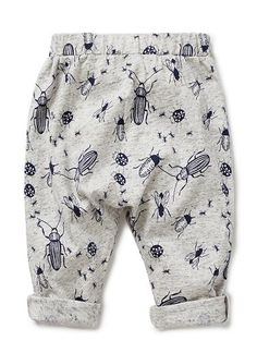 100% Cotton Jersey harem pant. Features elastic waistband and all over insect yardage print.