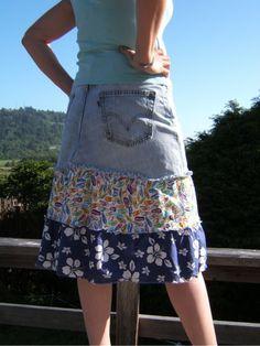 Cute!  Levi Skirt Fun Flirty Denim Blue Levi Skirt Flip Flops Summer Sunshine Hibiscus Flower OOAK size12 upcycled jeans. $44.99, via Etsy.