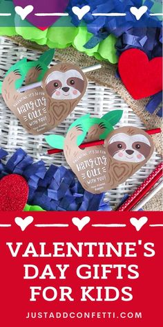 Looking for creative and easy kids valentines for school and Valentine's Day classroom parties? I've got you covered with this sloth valentine card! These DIY valentines are so easy to assemble. The printable is available in my Just Add Confetti Etsy shop. Just attach a pencil, glow stick or piece of candy to this valentine card for an adorable Valentine treat! Be sure to head to justaddconfetti.com for even more cute and simple kids valentines.