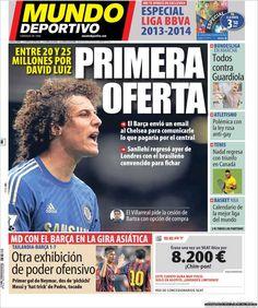 Los Titulares y Portadas de Noticias Destacadas Españolas del 8 de Agosto de 2013 del Diario Mundo Deportivo ¿Que le pareció esta Portada de este Diario Español?