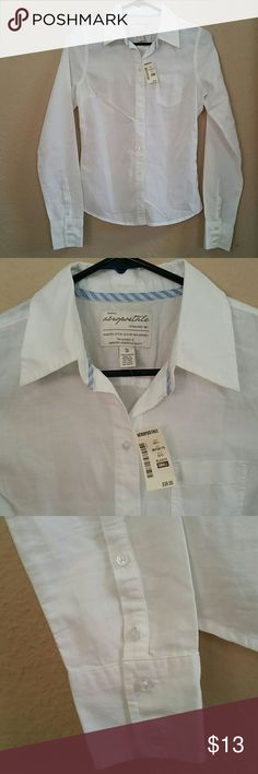 Brand New button down shirt size Small Brand new with tags lightweight button down shirt. 4 buttons on each sleeve. The blue pattern inside the collar is also at the bottom back, on each side (see last photo). 100% cotton Aeropostale Tops Button Down Shirts