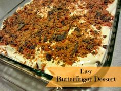 Butterfinger Dessert -Weight Watchers =easy and low in sugar! 1 prepared angel food cake cut into cubes, 1 oz pkg sugar & fat free butterscoth pudding mix, 1 C skim milk, 16 oz thawed cool whip free & 10 fun sized crushed butterfinger candy bars. Weight Watcher Desserts, Weight Watchers Meals, Ww Desserts, Delicious Desserts, Dessert Recipes, Yummy Food, Dessert Healthy, Cake Recipes, Diabetic Desserts