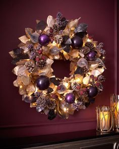 Sugarplum Chic 28 Wreath Got this on clearance - I've been stalking it for months!<br> EXCLUSIVELY OURS.Rattan core accented with natural pine cones paper plastic and x Purple Christmas, Noel Christmas, All Things Christmas, Christmas Wreaths, Christmas Decorations, Xmas, Christmas Trends, Christmas Tables, Coastal Christmas