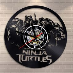 Free Shipping 1Piece Teenage Mutant Ninja Turtles TMNT Four Turtles LP Record Wall Clock Vintage 3D Time Clock Creative Clock-in Wall Clocks from Home & Garden on Aliexpress.com | Alibaba Group