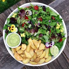 Mixed veg salad w/ a creamy blended avocado-lime-zucchini-dill-scallion dressing, roasted new potatoes.