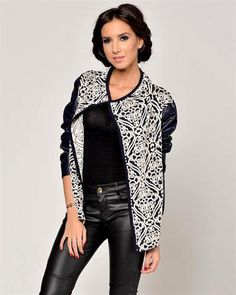 Joins Faux Leather Inlaid Jacquard Jacket Made In Italy