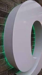 The Green I Signs Blog: White powder coated Aluminium built up lettering i...