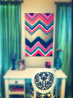 DIY chevron wall art- I WILL make this, this summer!