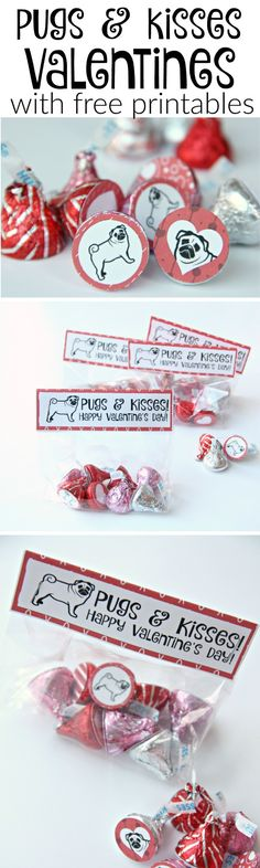 Pugs and Kisses Valentines with free printables for bag topper and hershey's kisses and hugs
