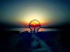 Just a lightbulb at sunset...