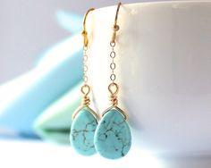 Turquoise Earring by PowderandJadeBridal, $18.00