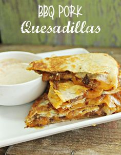 These pork quesadillas give an extra kick of flavor with the bbq sauce, and paired with the cheese makes for a mouth watering, cheesy quesadilla no one will turn down!