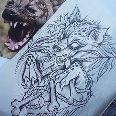@tat2elyse has this guy up for grabs and wants to do it in Color .  #hyena #hyenatattoo #tattoo #ladytattooers #scetch #art #skinart #toronrotattoo #aceandswordtattoos